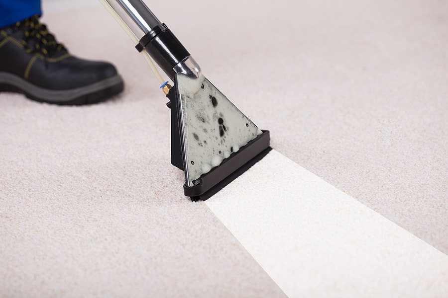 a man cleaning the carpet